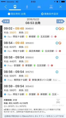 Yahoo Japan's transit route search results list: the best use of kanji offers the most informative list view of the competition. Kanji are colored only when they have a specific meaning: the shortest time, the cheapest fare, the least number of transfers.